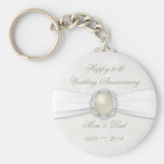 Damask 30th Wedding Anniversary Key Chain