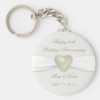 Damask 30th Wedding Anniversary Key Chain