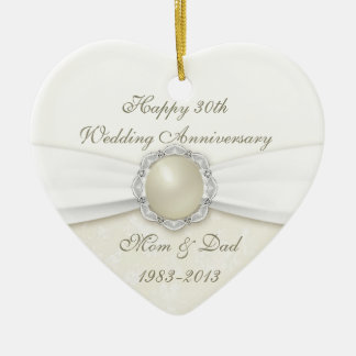 Damask 30th Wedding Anniversary Ornament
