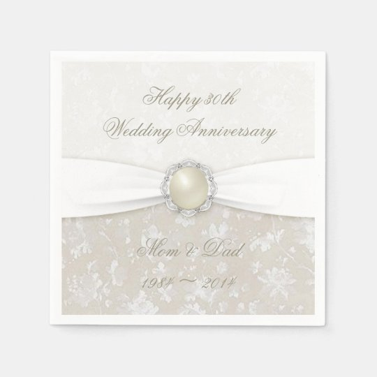 Damask 30th Wedding Anniversary Paper Napkins