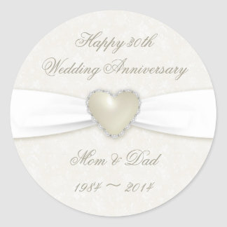 Damask 30th Wedding Anniversary Sticker