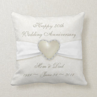 Damask 30th Wedding Anniversary Throw Pillow