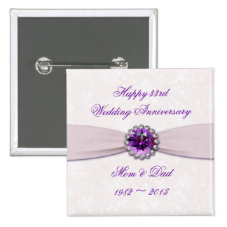 Damask 33rd Wedding Anniversary Button