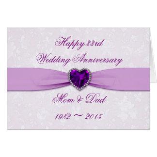 Damask 33rd Wedding Anniversary Greeting Card