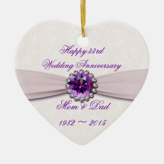 Damask 33rd Wedding Anniversary Heart Ornament