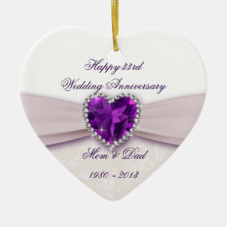 Damask 33rd Wedding Anniversary Ornament