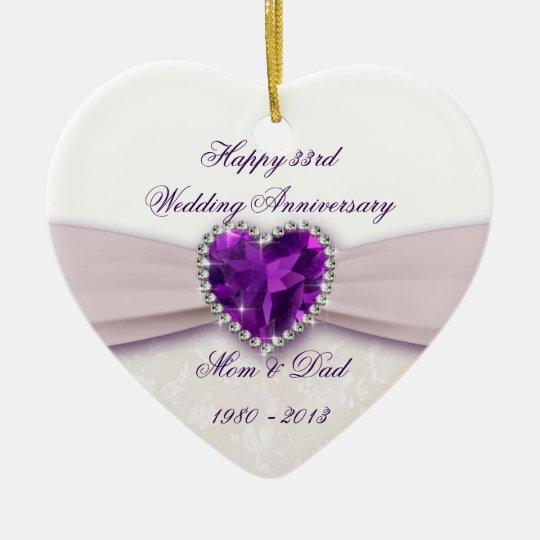 Damask 33rd Wedding Anniversary Ornament
