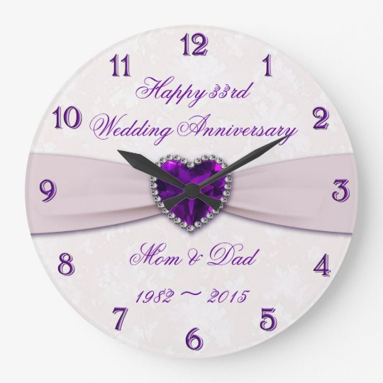 Damask 33rd Wedding Anniversary Wall Clock