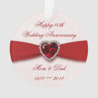 Damask 40th Wedding Anniversary Acrylic Ornament
