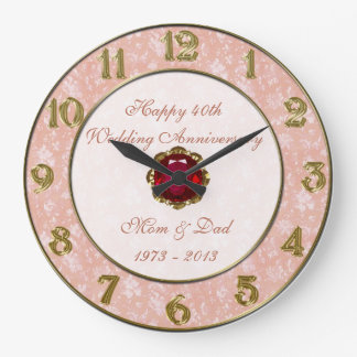 Damask 40th Wedding Anniversary Clock