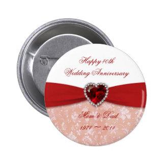 Damask 40th Wedding Anniversary Design 6 Cm Round Badge