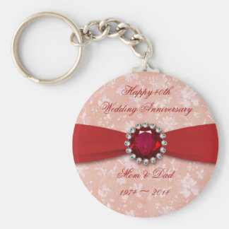 Damask 40th Wedding Anniversary Design Basic Round Button Key Ring