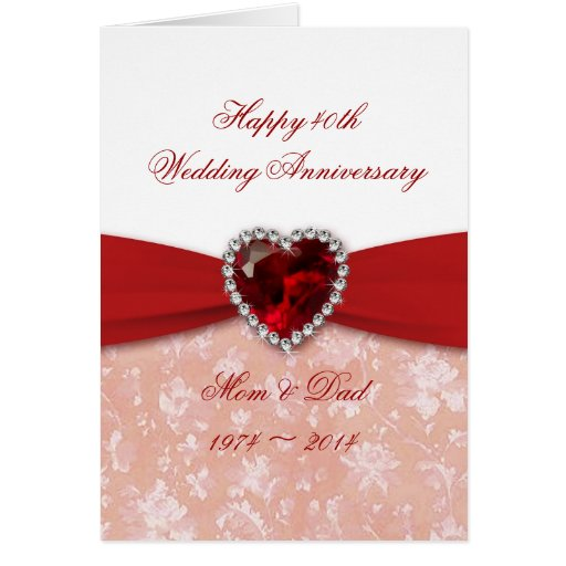 Damask 40th Wedding Anniversary Design Cards