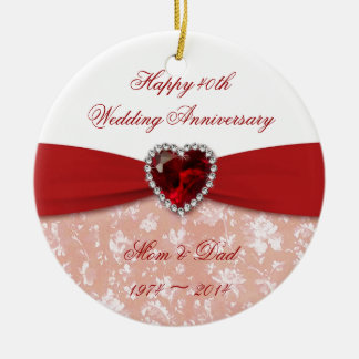 Damask 40th Wedding Anniversary Design Christmas Ornament