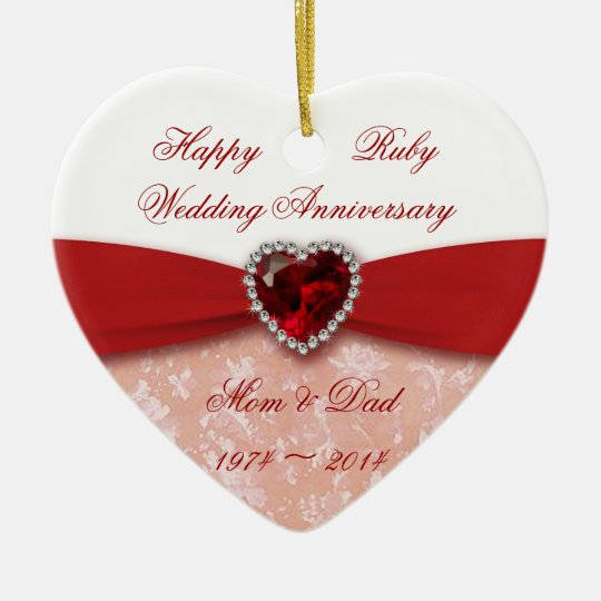 Damask 40th Wedding Anniversary Design Christmas Ornament