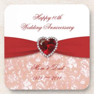 Damask 40th Wedding Anniversary Design Coaster