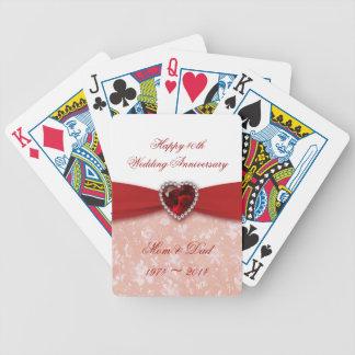 Damask 40th Wedding Anniversary Design Deck Of Cards