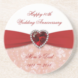Damask 40th Wedding Anniversary Design Drink Coaster