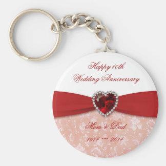 Damask 40th Wedding Anniversary Design Key Ring