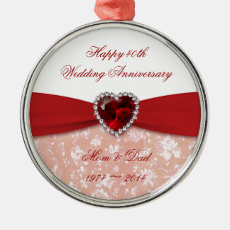 Damask 40th Wedding Anniversary Design Silver-Colored Round Decoration