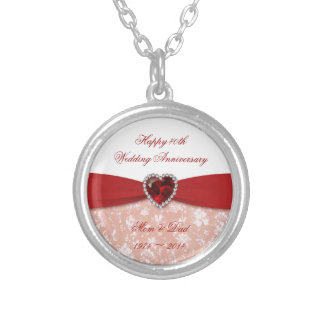 Damask 40th Wedding Anniversary Design Silver Plated Necklace