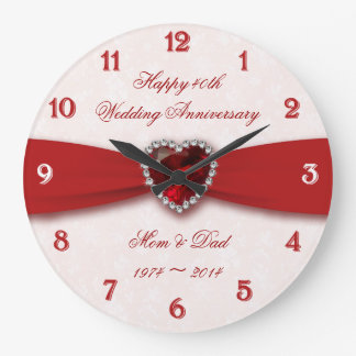 Damask 40th Wedding Anniversary Design Wall Clock