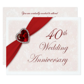 Damask 40th Wedding Anniversary Invitation