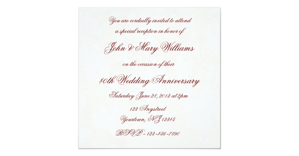 Alternative 40th Wedding Anniversary Gifts : Damask 40th Wedding Anniversary Invitation Zazzle