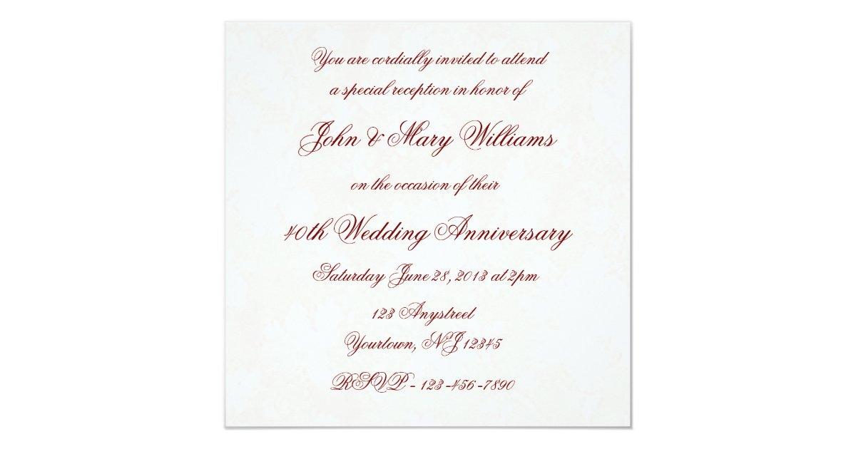 Wedding Anniversary Invitation Message: Damask 40th Wedding Anniversary Invitation