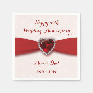 Damask 40th Wedding Anniversary Paper Napkins Disposable Napkin