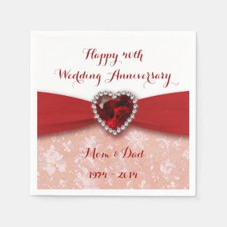 Damask 40th Wedding Anniversary Paper Napkins Paper Napkin