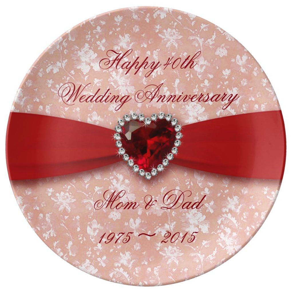 40th Wedding Anniversary Plate