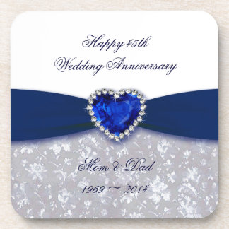 Damask 45th Wedding Anniversary Coaster