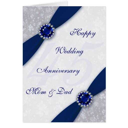 Wedding Gifts For 45th Anniversary : Damask 45th Wedding Anniversary Greeting Card Zazzle