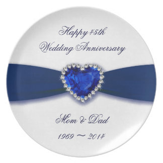 Damask 45th Wedding Anniversary Melamine Plat Party Plates
