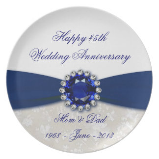 Damask 45th Wedding Anniversary Melamine Plate