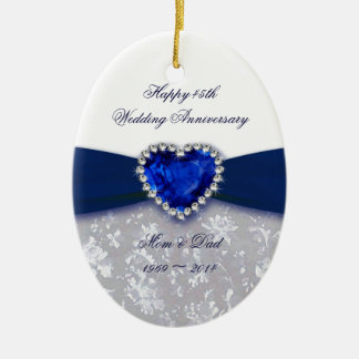Damask 45th Wedding Anniversary Ornament