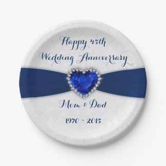 Damask 45th Wedding Anniversary Paper Party Plate 7 Inch Paper Plate
