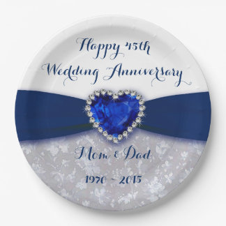 Damask 45th Wedding Anniversary Paper Party Plate 9 Inch Paper Plate