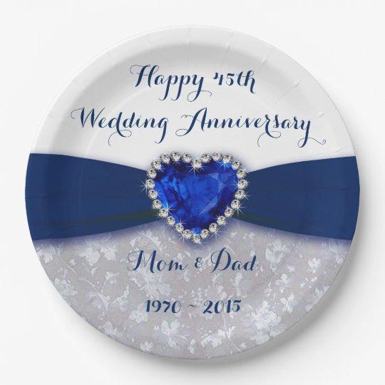 Damask 45th Wedding Anniversary Paper Plate