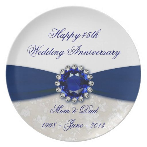 Wedding Gifts For 45th Anniversary : Damask 45th Wedding Anniversary Plate Zazzle
