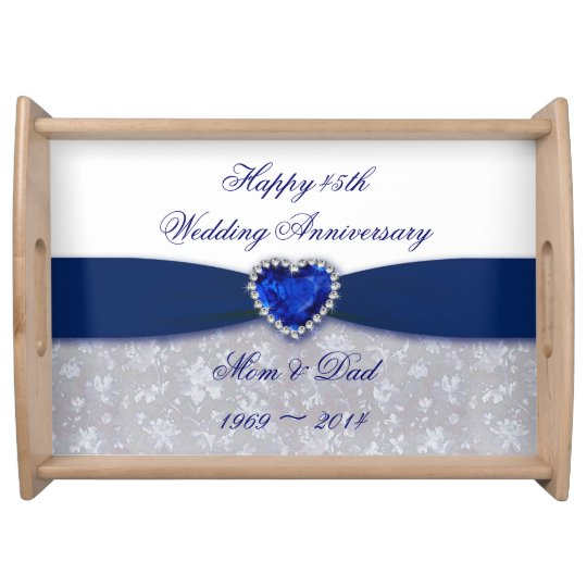 Damask 45th Wedding Anniversary Serving Tray