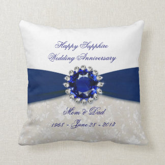 Damask 45th Wedding Anniversary Throw Pillow