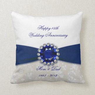 Damask 45th Wedding Anniversary Throw Pillow