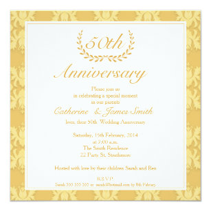 Golden wedding anniversary invitations announcements zazzle damask 50th golden wedding anniversary invitation stopboris Image collections
