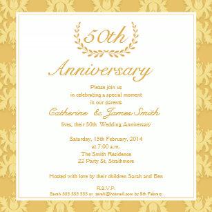 Parents 50th anniversary cards invitations zazzle damask 50th golden wedding anniversary invitation stopboris Images