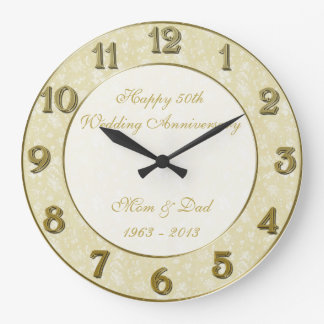 Damask 50th Wedding Anniversary Clock