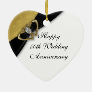Damask 50th Wedding Anniversary Heart Ornament