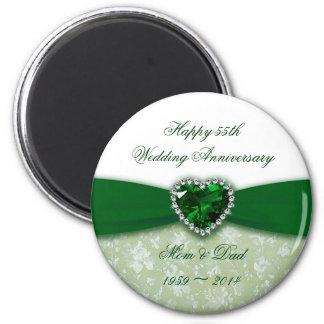 Damask 55th Wedding Anniversary 6 Cm Round Magnet