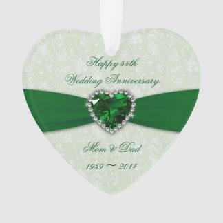 Damask 55th Wedding Anniversary Acrylic Ornament